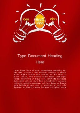 Best Idea Creation Word Template, Cover Page, 12260, Business Concepts — PoweredTemplate.com