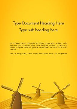 Windmills Word Template, Cover Page, 12273, Agriculture and Animals — PoweredTemplate.com