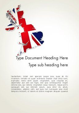 Great Britain Flag Map Word Template, Cover Page, 12280, Flags/International — PoweredTemplate.com