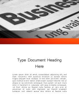 Business Articles Word Template Cover Page