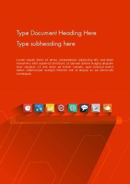 Flat Icons on Red Background Word Template, Cover Page, 12295, Careers/Industry — PoweredTemplate.com