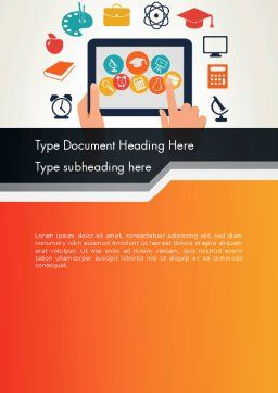 E-learning Icons Word Template Cover Page