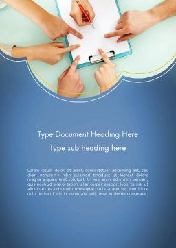 Business Hands Working with Document Word Template, Cover Page, 12323, Business Concepts — PoweredTemplate.com