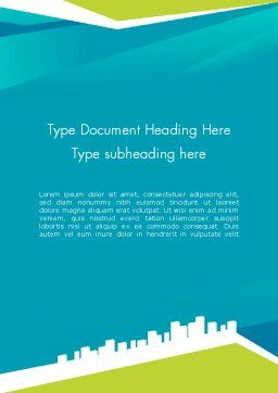 City Skyline Word Template, Cover Page, 12330, Business — PoweredTemplate.com