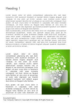 Creative Light Bulb with Icons Word Template First Inner Page