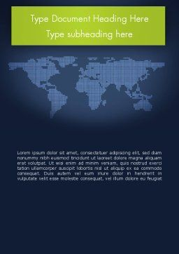 World Map Continents Word Template, Cover Page, 12357, Global — PoweredTemplate.com