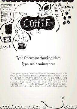 Coffee Doodles Word Template, Cover Page, 12366, Food & Beverage — PoweredTemplate.com