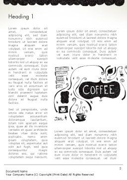 Coffee Doodles Word Template, First Inner Page, 12366, Food & Beverage — PoweredTemplate.com