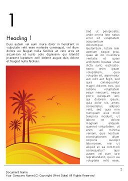Palms on Sunset Word Template, First Inner Page, 12378, Nature & Environment — PoweredTemplate.com