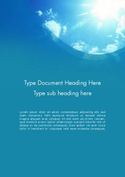 Sunshine Word Template, Cover Page, 12413, Nature & Environment — PoweredTemplate.com