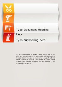 Tools and Construction Icons Word Template, Cover Page, 12415, Utilities/Industrial — PoweredTemplate.com