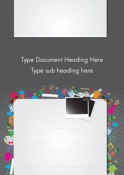 School Supplies Word Template, Cover Page, 12437, Education & Training — PoweredTemplate.com