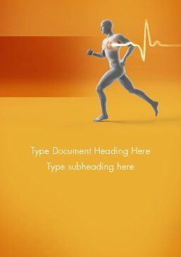 Jogging and Heartbeat Word Template, Cover Page, 12441, Medical — PoweredTemplate.com