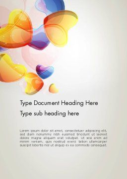 Abstract Blue and Orange Hearts Word Template, Cover Page, 12512, Holiday/Special Occasion — PoweredTemplate.com