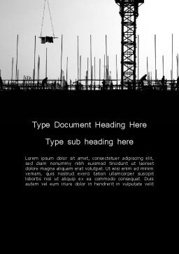 Construction Workers Silhouettes Word Template, Cover Page, 12527, Construction — PoweredTemplate.com