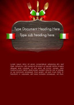 Italian Restaurant Word Template Cover Page