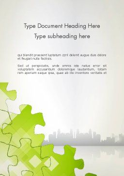 Puzzle Pieces on City Background Word Template, Cover Page, 12552, Business Concepts — PoweredTemplate.com