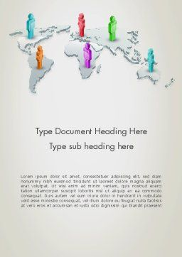 Stickman Standing on World Map Word Template, Cover Page, 12566, Business — PoweredTemplate.com