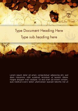 Pirate Treasure Map Word Template, Cover Page, 12567, Global — PoweredTemplate.com
