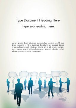 People Silhouettes with Speech Bubbles Word Template Cover Page