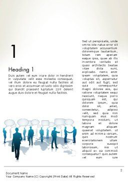 People Silhouettes with Speech Bubbles Word Template, First Inner Page, 12578, People — PoweredTemplate.com