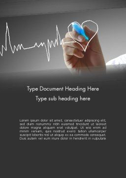 Heart with Heart Rhythm Word Template, Cover Page, 12608, Medical — PoweredTemplate.com