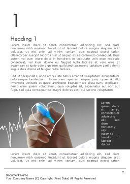 Heart with Heart Rhythm Word Template, First Inner Page, 12608, Medical — PoweredTemplate.com