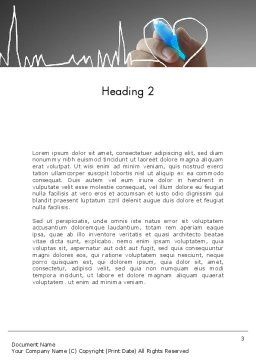 Heart with Heart Rhythm Word Template, Second Inner Page, 12608, Medical — PoweredTemplate.com