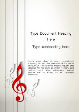 Red Treble Clef Word Template Cover Page