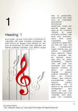 Red Treble Clef Word Template First Inner Page