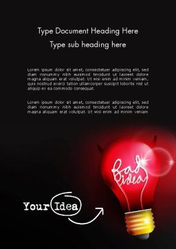 Bad Idea Word Template, Cover Page, 12639, Business Concepts — PoweredTemplate.com