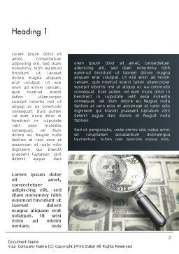 Dollar Through Magnifier Word Template, First Inner Page, 12653, Financial/Accounting — PoweredTemplate.com