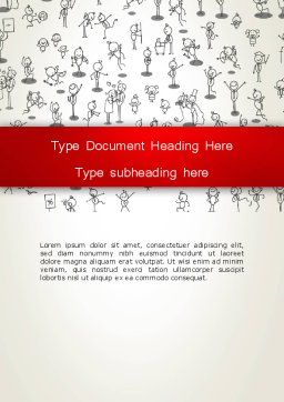 Funny Stickman Background Word Template Cover Page