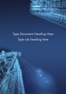 Abstract 3D Architect Word Template, Cover Page, 12659, Construction — PoweredTemplate.com