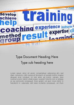 Training and Coaching Word Cloud Word Template, Cover Page, 12663, Education & Training — PoweredTemplate.com