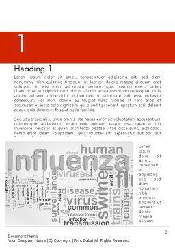 Influenza Word Cloud Word Template, First Inner Page, 12665, Medical — PoweredTemplate.com