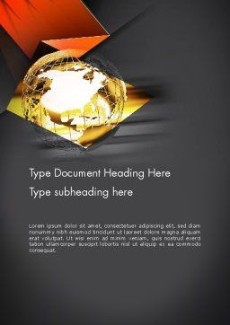 Wireframe Globe Word Template Cover Page