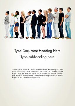 People Standing in Line Word Template, Cover Page, 12687, People — PoweredTemplate.com