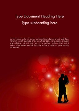 Love Theme with Silhouette of Lovers Word Template, Cover Page, 12688, Holiday/Special Occasion — PoweredTemplate.com
