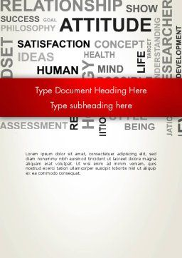 Attitude Word Cloud Word Template, Cover Page, 12699, Careers/Industry — PoweredTemplate.com