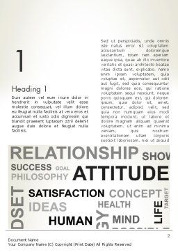 Attitude Word Cloud Word Template, First Inner Page, 12699, Careers/Industry — PoweredTemplate.com