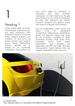 Electric Car Charging Station Word Template, First Inner Page, 12704, Technology, Science & Computers — PoweredTemplate.com