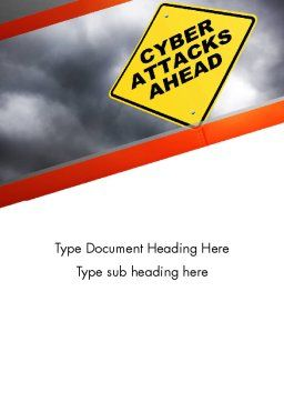 Cyber Attacks Sign Word Template Cover Page
