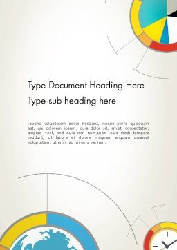 Abstract Pie and Donut Charts in Flat Design Word Template, Cover Page, 12730, Business — PoweredTemplate.com