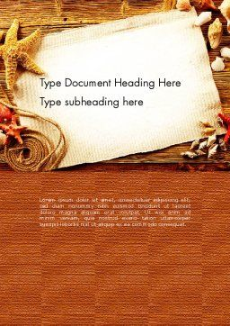 Ocean Shells Theme Word Template, Cover Page, 12742, Holiday/Special Occasion — PoweredTemplate.com