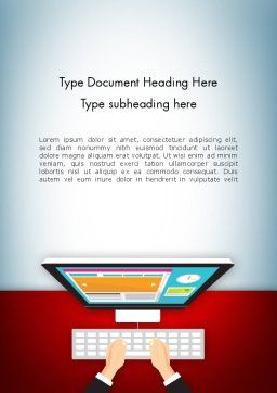 Working on PC Word Template, Cover Page, 12749, Business — PoweredTemplate.com