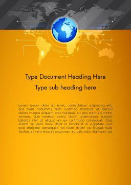 World Map and Globe Word Template, Cover Page, 12772, Global — PoweredTemplate.com