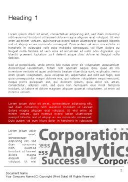 Corporation Analytics Word Template, First Inner Page, 12776, Consulting — PoweredTemplate.com