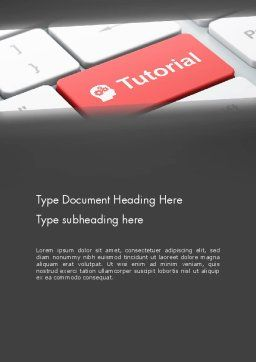 Tutorial Button Word Template, Cover Page, 12779, Consulting — PoweredTemplate.com