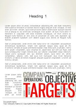 Objectives and Targets Word Cloud Word Template, First Inner Page, 12792, Business Concepts — PoweredTemplate.com